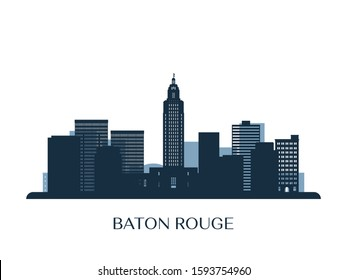 Baton Rouge skyline, monochrome silhouette. Vector illustration.