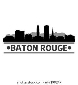 Baton Rouge Skyline Silhouette Stamp City Design Vector Art
