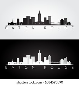 Baton Rouge USA skyline and landmarks silhouette, black and white design, vector illustration.