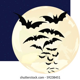 Bats against a disk of the moon and a scattering of stars