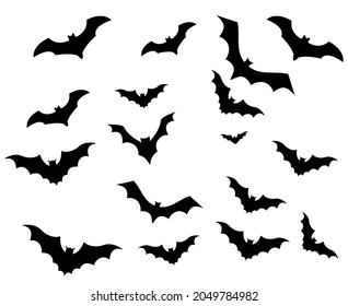 Bats Black Objects Vector Signs Symbols  Illustration With White Background