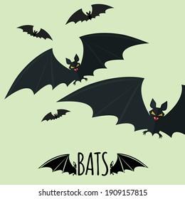 Bats Black wings flying vector