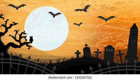 Bat Layouts | Bats Front Full Moon Scary Illustrated Stock Vector Royalty Free
