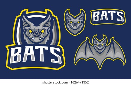 Bats mascot logo design isolated on navy blue background with extra shield