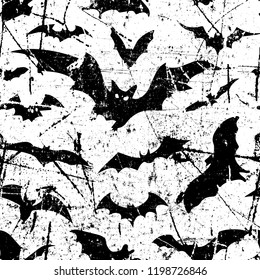 Bats seamless pattern background. Halloween. Vector silhouette. Vector illustration