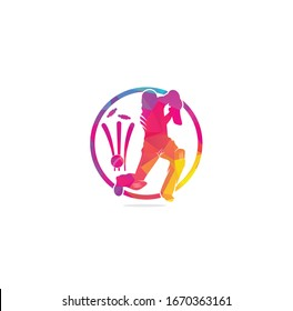 Batsman playing cricket. Cricket competition logo. Cricket championship. Cricket logo