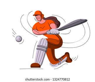 Batswoman playing cricket. Abstract poster for womens cricket. Vector illustration of female cricket. Cricketer girl.