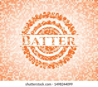 Batter abstract orange mosaic emblem with background