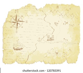 Battered and faded old map vector illustration.