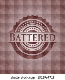 Battered red seamless geometric emblem.