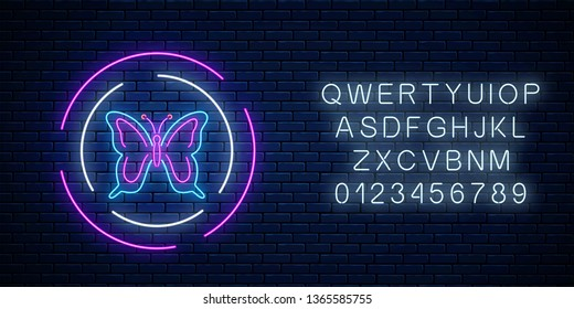Batterfly glowing neon sign in round frames with alphabet on dark brick wall background. Spring flyer emblem in circle. Night street advertising symbol. Vector illustration.