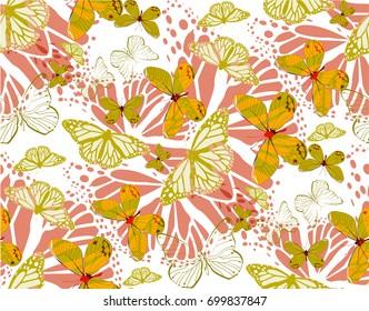 batterfly gold patterns seamless vectors