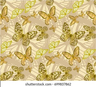 batterfly gold patterns seamless vectors