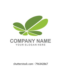 batterfly leaf logo vector