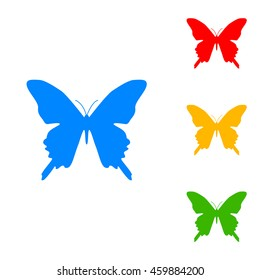 Batterfly sign illustration. Colorful set of icon - blue, red, yellow, green.