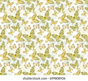 batterflys gold patterns seamless