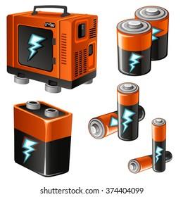 Batteries and accumulators. Vector illustration.
