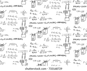 Batteries. Electric law theory and physics mathematical formula equation. Physical equations on whiteboard. Technological and scientific  background. Vector hand-drawn seamless pattern.