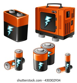 The batteries and generator. Vector illustration.