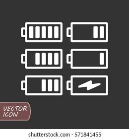 Batteries icons set
