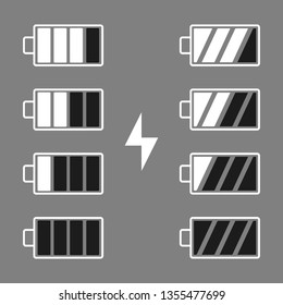 Batteries indicators. Vector illustration