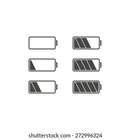 Batteries - set of icons of black color on a white background.