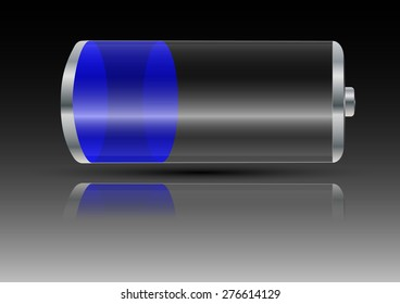 battery with blue light on a gray background with shadow and reflection