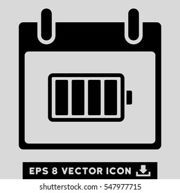 Battery Calendar Day icon. Vector EPS illustration style is flat iconic symbol, black color.