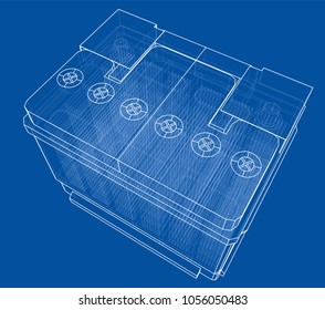 Battery car outline. Vector rendering of 3d. Wire-frame style. The layers of visible and invisible lines are separated