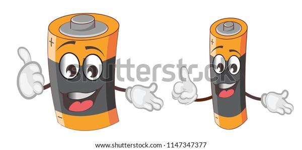 battery characters set cartoon
