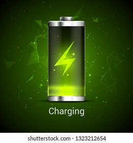 Battery charge full power energy level. Recharge battery indicator. Low power mibile fuel.