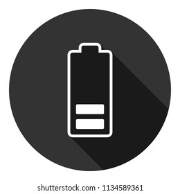Battery charge icon. Accumulator battery icon. Energy charger icon. Vector flat sign. Gray background with shadow.