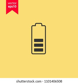 Battery charge icon. Accumulator battery icon. Yellow background. EPS 10 vector sign.