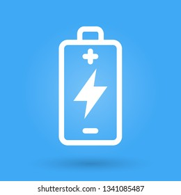 Battery charge icon. Energy symbol. Electric power sign. Flat outline illustration on blue background. Vector image.