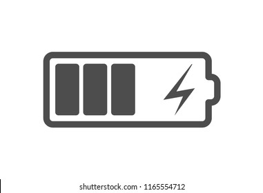 Battery charge icon, vector electrical power charger. Flat accumulator charge icon for smartphone.