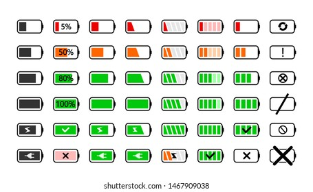 Battery charge icons. Powered indicator, charging empty batteries and low battery power icon. Smartphone charge level indicating or laptop battery status. Isolated vector signs illustration set