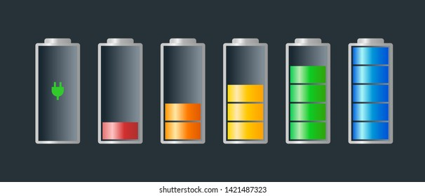 Battery charge indicator colorful icon set. Charging level full power low to high and electric plug. Gadgets alkaline energy status vector illustration on dark background
