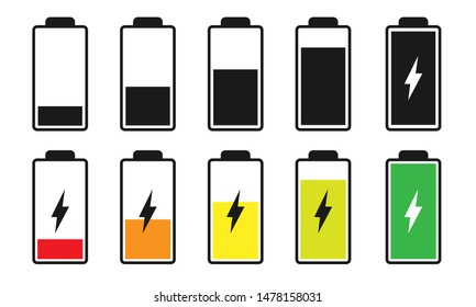 Battery charge indicator icons isolated on white background. Charging levels. Accumulator or energy signs.