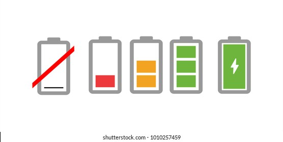 Battery charge indicator icons in vector graphics