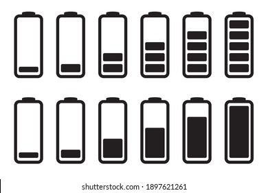 Battery charge indicator icons, vector icons set.