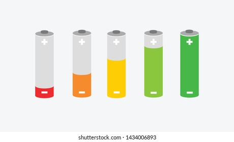 Battery charge indicator realistic alkaline battery vector graphics