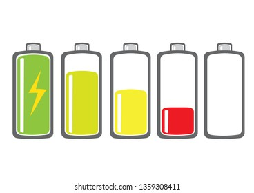 Battery charge indicator set with colours. Charging Battery Energy Level. Vector illustration.