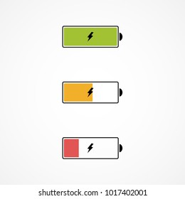 Battery charge level. Battery charging. Set of battery charge level indicators. Vector. Illustration.