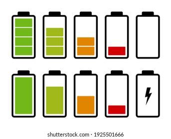 Battery charge level indicator. Set of battery icons