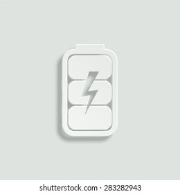 battery charge level indicator vector icon - paper illustration