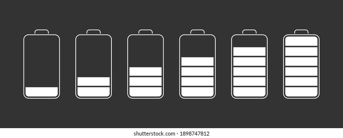 Battery charge level indicators. Discharged and fully charged battery smartphone. Vector illustration