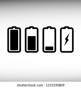Battery charge level set. Battery charge indicator icon. Vector illustration. EPS 10.