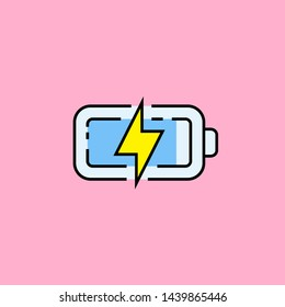 Battery charge line icon. Electrical energy recharge symbol. Charging blue power level with yellow electric flash isolated on pink background. Vector illustration.