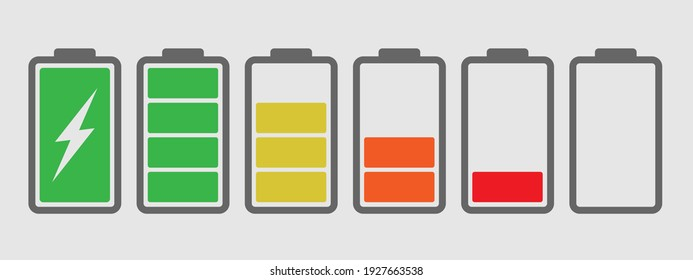 Battery charge multi color icon flat vector set.