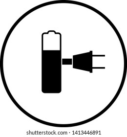 battery charge with plug symbol